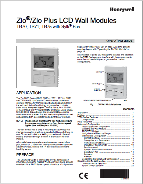 Honeywell TR70, TR71, TR75 User Manual