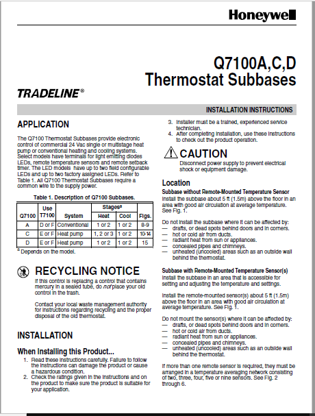 Honeywell Tradeline Q7100A Manual