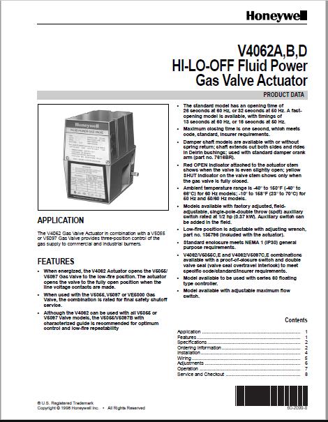 Honeywell V4062A Manual
