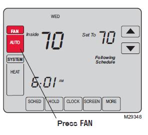Honeywell Vision Pro 8000 Series Fan setting