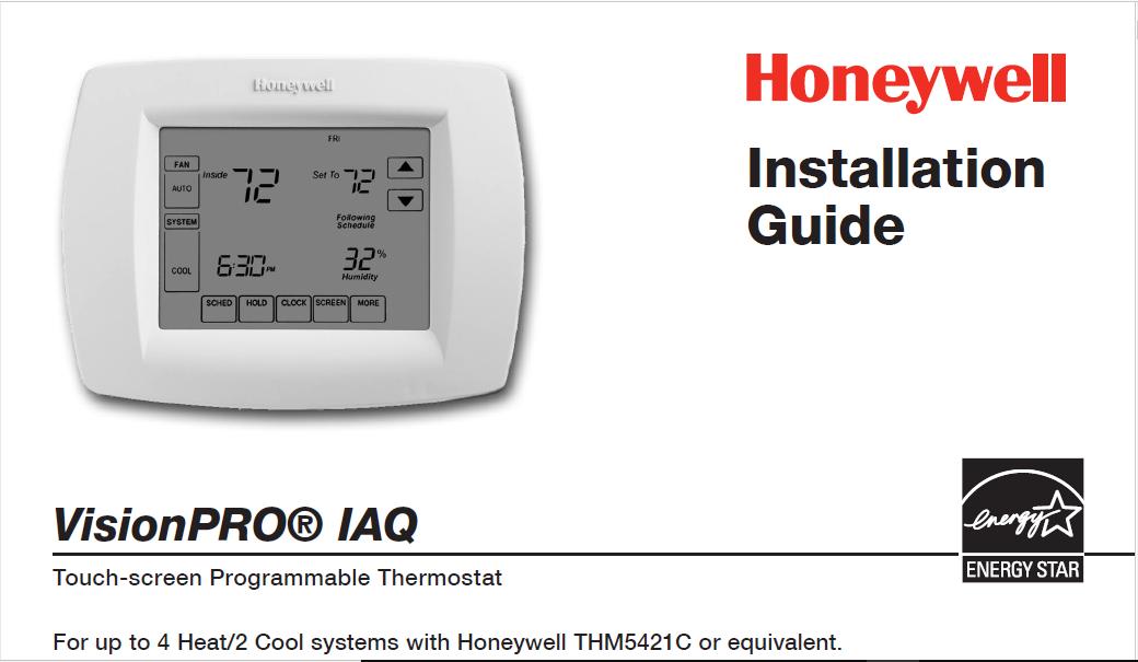 Honeywell VisionPRO® IAQ Installation Manual