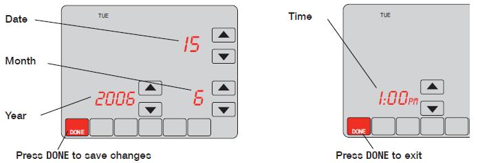 Honeywell VisionPRO® IAQ Set date/time