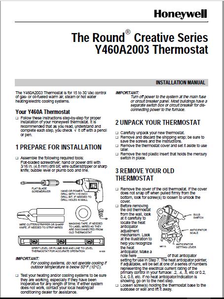 Honeywell Y460A2003 Installation Manual