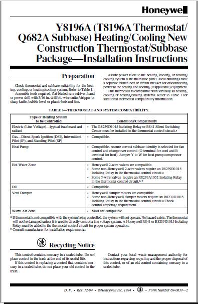 Honeywell Y8196A Installation Manual