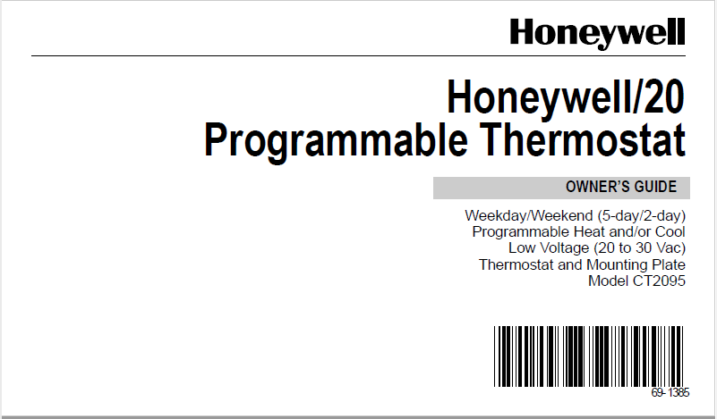 Honeywell/20 Programmable Thermostat Manual PDF