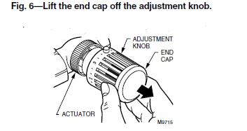Lift the end cap off the adjustment knob