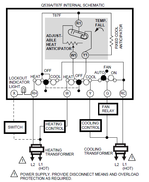 Typical hookup for Q539A in heatingcooling application with remote lockout indication.