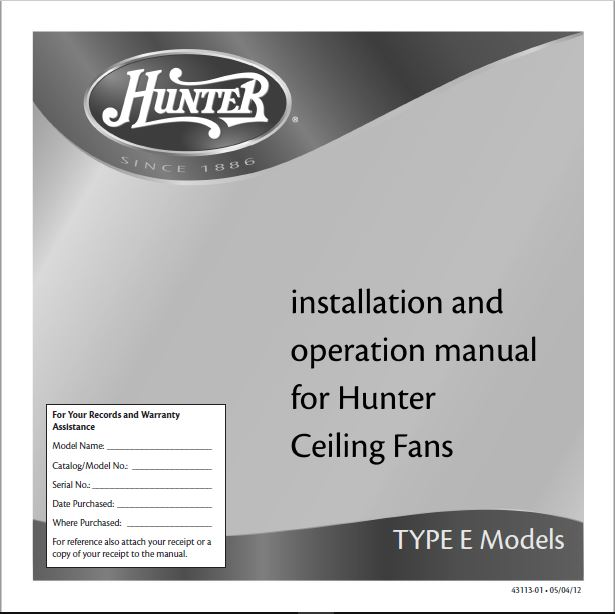 Hunter 18865 60 1886 Limited Edition Instruction Manuals and User Guides