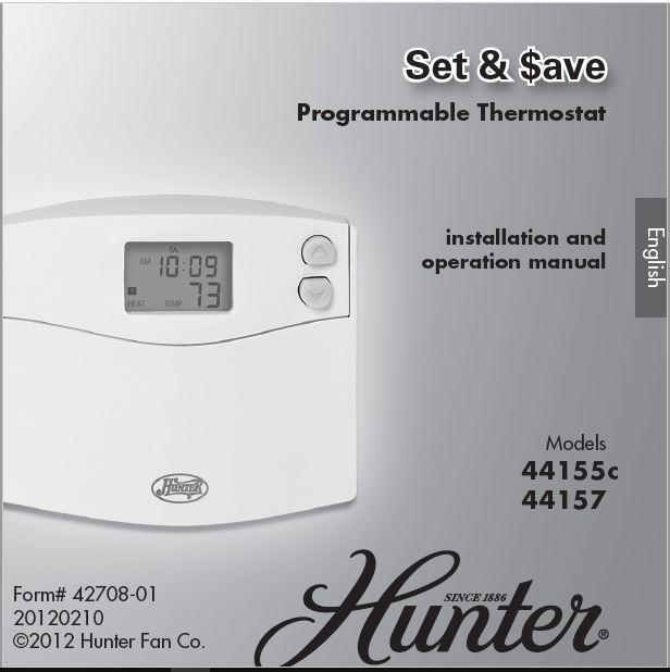 Hunter 44155C Owner's Manual