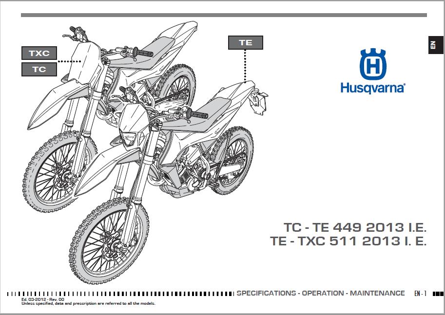 Husqvarna 2012 TC449-TE449-TE511-TXC511 Owners Manual