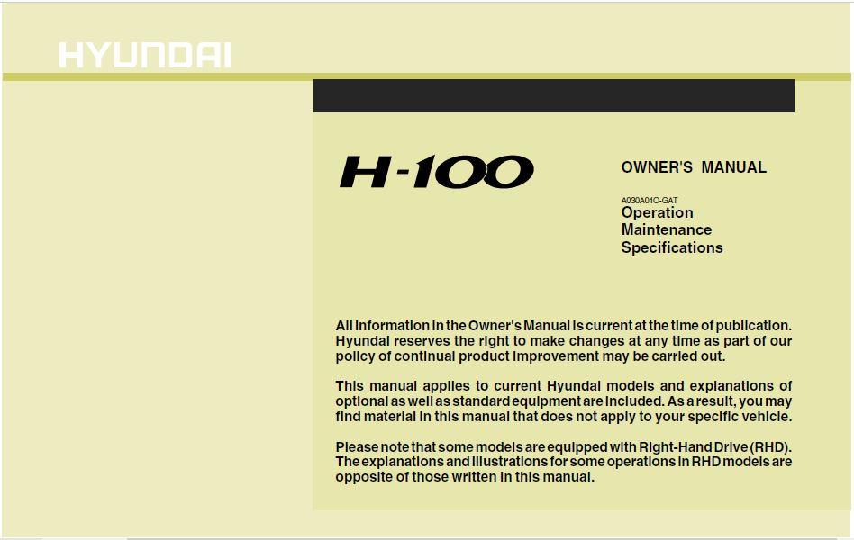 Hyundai H-100 Truck Owner's Manual