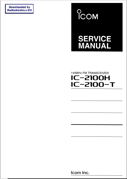 Icom IC-2100H Service Manual