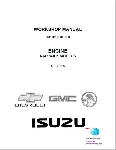 ISUZU Workshop Manual for 4JA1 AND 4JHI ENGINE