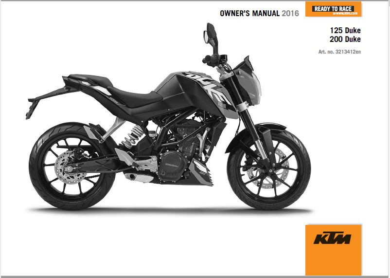 2016 KTM 125 DUKE Owners Manual