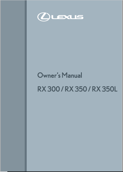 Lexus RX350 owners manual