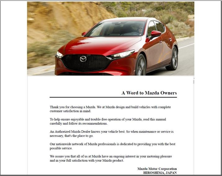 2019 Mazda 3 Hatchback Owners Manual