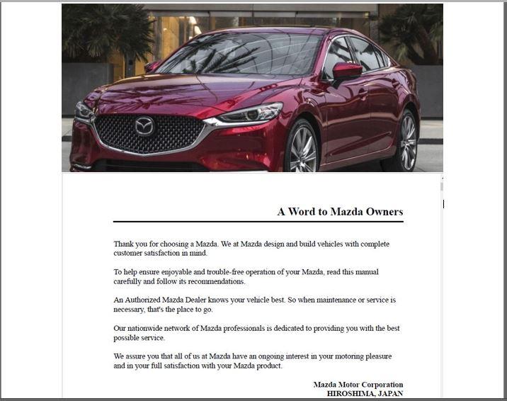 2019 Mazda 6 Owners Manual
