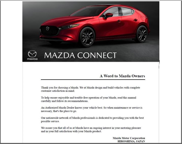 2019 Mazda Connect Owners Manual