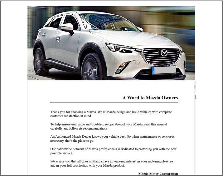 2019 Mazda CX3 Owner's Manual