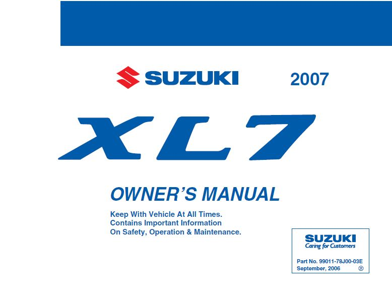 2007 suzuki xl7 Owners Manual