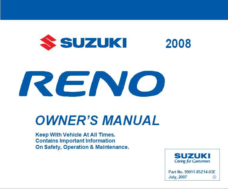 Suzuki 2008 Reno User Manual