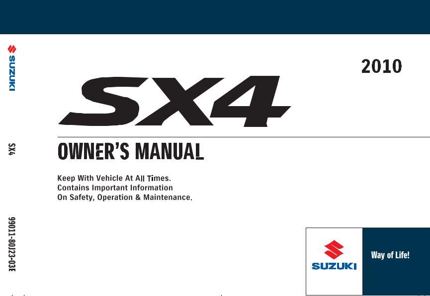 Suzuki 2010 SX4 SportBack User Manual