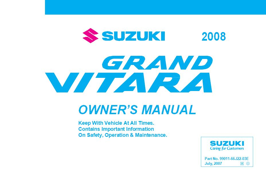Suzuki Grand Vitara 99011-66J22-03E User Manual