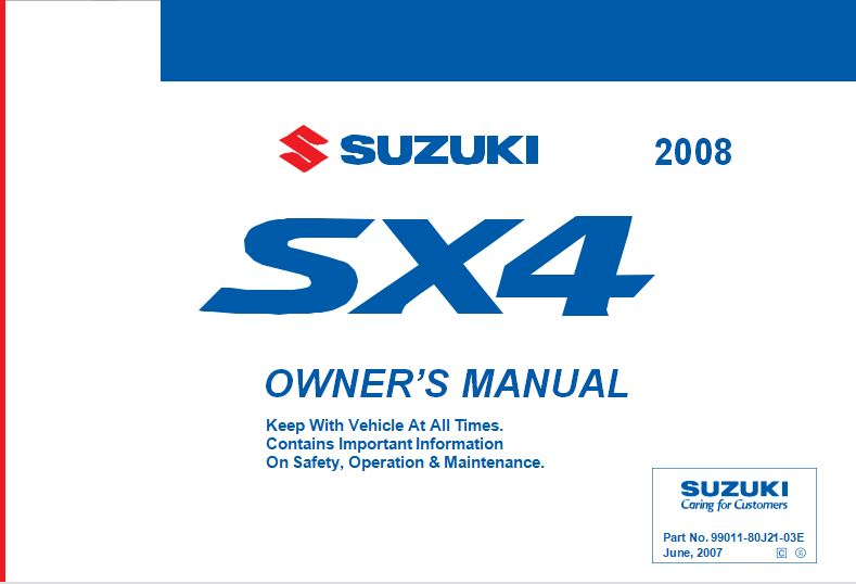 Suzuki SX4SX4 SEDAN Owner's Manual
