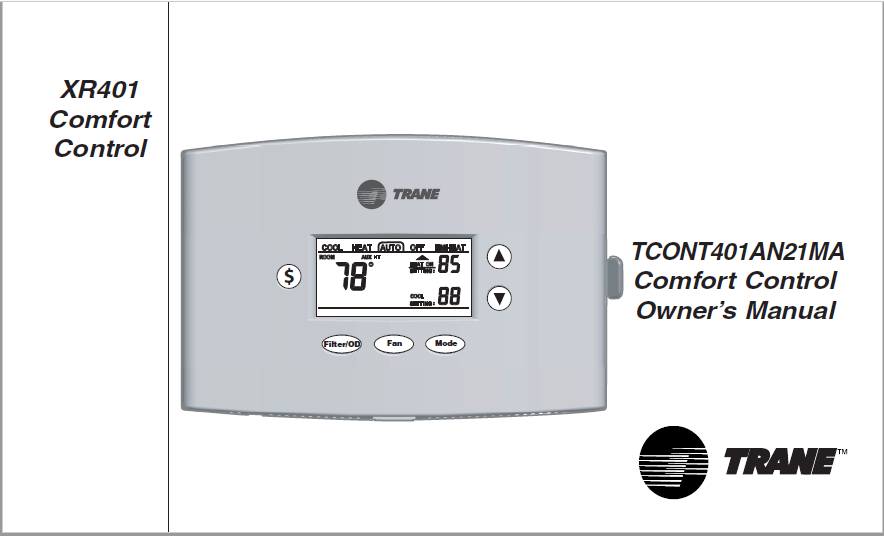 Trane TCON401AN21MA Comfort Control Owners Manual