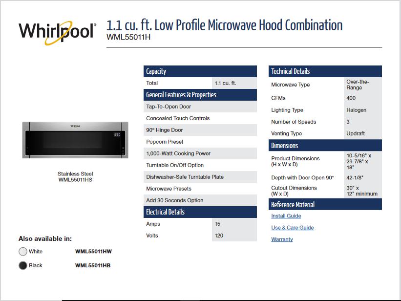 whirlpool low profile microwave user manual