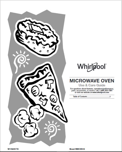 Whirlpool Microwave User Manual (W11083577)