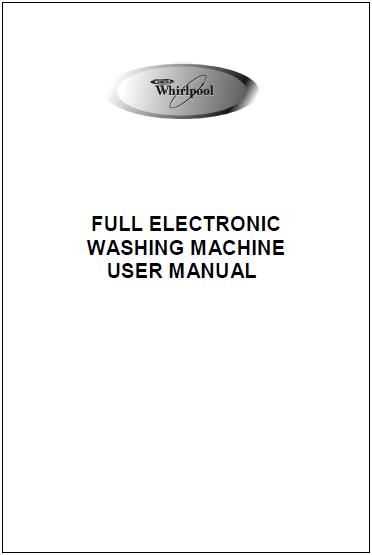 Whirlpool Washer User Manual