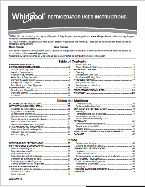 Whirlpool WRF535SWHZ User Manual