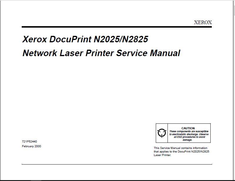XEROX Docuprint N2025-N2825 Service Manual